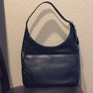 Coach (F10280) black leather large hobo bag